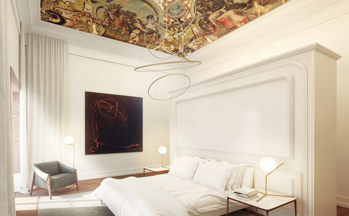 The-Sandomil-Palace-painted-ceiling-bedroom-Apt-D
